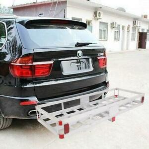 Aluminum Hitch Mounted Cargo Carrier Luggage Basket Trailer Receiver Rack Truck