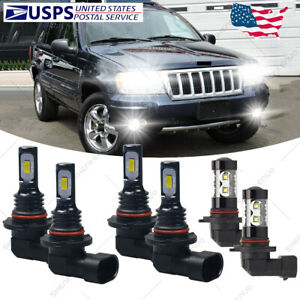 For Jeep Grand Cherokee 1999 2004 Led Headlight Bulbs Hi Low Beam Fog Lights Hkb