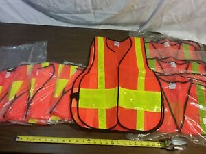 8 Galls Heavy Duty Mesh Traffic Vest Hi visability Orange Size Regular