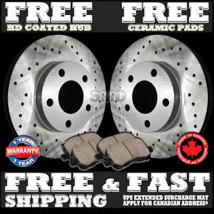 P0326 Fit 1994 1995 Ford Mustang Cobra V8 Front Drilled Brake Rotors Ceramic Pad
