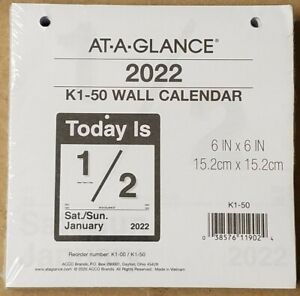 2022 At a glance Today Is Daily Home Office Wall Calendar Refill 6 X 6 K150