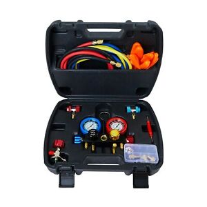 4 Valve Ac Diagnostic Manifold Guage Heavy Duty Tool Set Recovery Charging Work