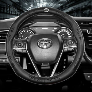 Hot Car Steering Wheel Covers 15 For Toyota Genuine Leather Pinhole Logo Black