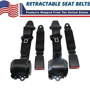 2x Fit For Jeep Cj Yj Wrangler 1982 94 Universal 3 Point Retractable Seat Belts