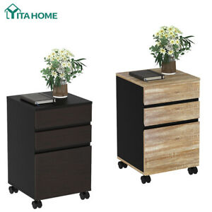 Yitahome Wood 3 Drawer Mobile File Cabinet Desk Storage Office For Letter a4