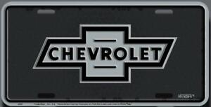 Chevrolet Bow Tie Black White Embossed Metal License Plate Sign