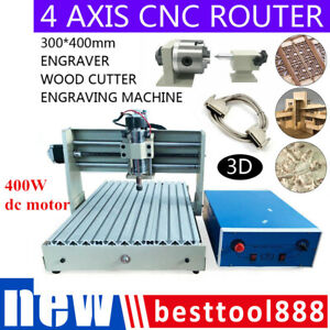 4 Axis Cnc 3040 Router Engraver Engraving Milling Drilling Desktop Machine 400w