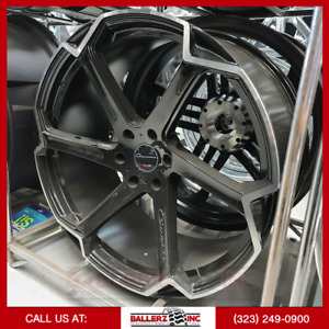24x10 Giovanna 6x5 5 Wheel Tire Package Black Machined
