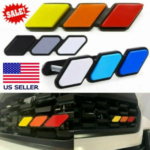Tri Color 3 Grille Badge Emblem Sticker For Toyota Tundra 4runner Tacoma Trd Pro