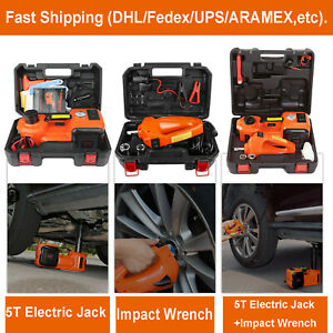 12v 5ton Car Jacks Electric Hydraulic Floor Jack Air Inflator Pump Impact Wrench