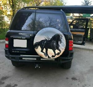 Black Horse 15 16 17 Custom Made With Your Size Soft Spare Wheel Tyre Cover