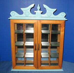 Vintage Curio Cabinet With Shelf Wall Hanging Table Top Wood Display Blue