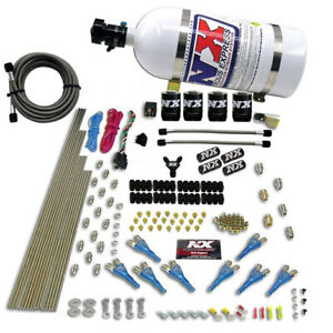 Nitrous Express 8 Cyl Shark Direct Port 4 Solenoids Nitrous Kit 10lb Bottle