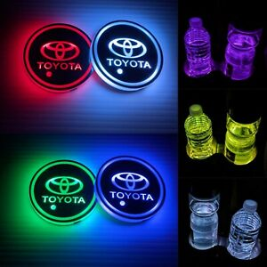 2pcs Led Car Cup Holder Lights Toyotacar Cup Holder Coasters Light Up Coasters