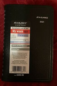 2021 At a glance Weekly Appointment Book Dayminder Black 3 5 X 6 G250 00