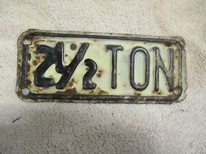 Vintage 2 1 2 Ton Truck License Plate Topper Accessory Ford Gm Dodge Chevy Tag