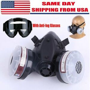 Half Face Gas Mask Dual Filter Cartridge Safety Gas Chemical Respirator glasses