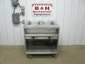 Randell 3612 Stainless Two Well Electric Steam Table Cabinet Hot Food Bar Warmer