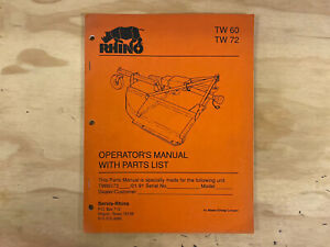 Rhino Tw60 Tw72 Rotary Mower Operator s And 160 Parts Manual