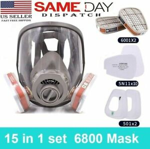 15 In 1 Gas Mask Respirator Full Face Spraying Painting Facepiece For 6800 Usa