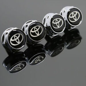 4pcs Car Metal License Plate Frame Screw Bolt Cap Covers Nuts For Toyota Logo