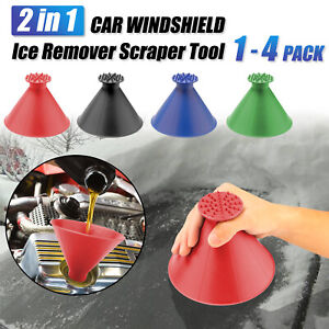1 4pcs Car Windshield Ice Snow Remover Scraper Tool Cone Shaped Round Funnel Us