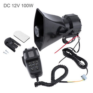 7 Sound Car Motorcycle Warning Siren Horn Alarm Megaphone Loudspeaker With Mic