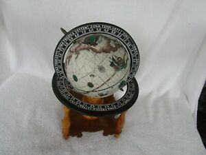 Vintage Old Zona Temp Merd Fredda World Globe On Attached Wooden Stand