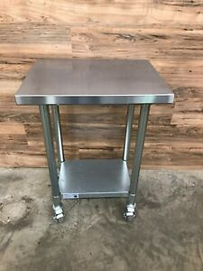 Serv ware T1824cwp 4 18 W X 24 D Stainless Steel Work Table W Casters
