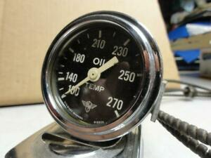 Vintage Stewart Warner Wings Oil Temp Gauge Curved Glass 32 Ford Scta Hot Rod