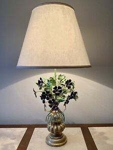 Vintage Floral Toleware Table Lamp Painted Metal And Gilt Wood 1960s Italy