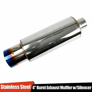 4 stainless Steel Exhaust Muffler With Silencer hp Racing Burnt Tip N1 Style