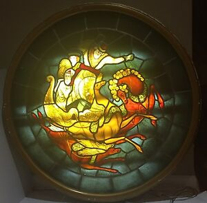 Large Figural Stained Glass Window As Lamp Framed Lighted 42 D