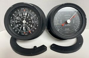 Seth Thomas Vintage Ship Barometer And Tide Time Clock Seasprite Ii 6 Maritime