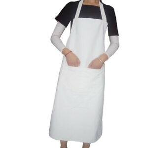 2pcs White Cooking Apron Long Style Apron White Sleeveless Apron Waterproof