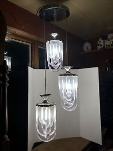Vintage Lucite Ribbon Mid Century Chandelier Hollywood Regency 3 Light