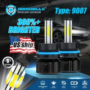 9007 Hb5 Led Headlight Bulbs Conversion Kit High Low Dual Beam 6500k Super White