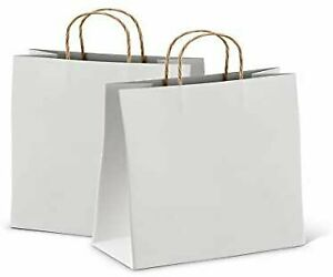 Kraft Paper Shopping Bags White Retail Bags 25 50 Pack Any Size