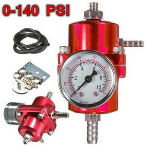 Universal 0 140psi Fuel Pressure Regulator Gauge Hose Adjustable Aluminum