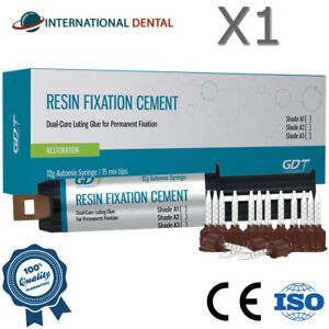 Dental Permanent Luting Resin Cement Shades 12g Dual Cure Automix Crown Bridge