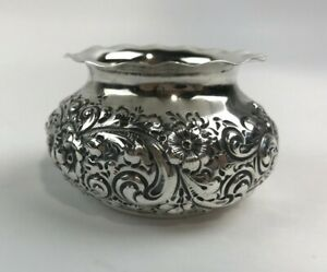 Geo C Shreve Co Small Sterling Silver Reprousse Bowl Trinket Dish H 1 3 4