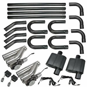 Diy Universal 2 5 Mild Steel Dual Exhaust System Kit W Cutouts Mufflers Kit