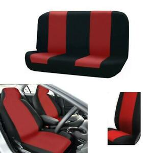 Durable 5 Seats Car Seat Covers Red Black With Bench Cover Low Back Seat Cover