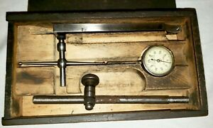 Vintage L s Starrett No 196 Dial Test Indicator Set In Wooden Case Collector
