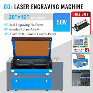 Omtech 50w 20 x12 Co2 Laser Engraver Engraving Cutting Machine With Rotary Axis