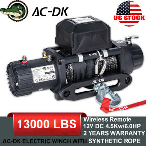 Ac Dk 12v 13000lbs Electric Winch Ynthetic Rope Towing Truck Trailer Jeep 4wd