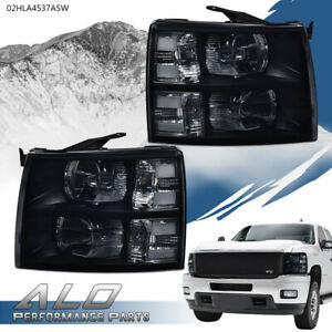 For 2007 2013 Chevy Silverado 1500 2500 3500 Smoke Lens Black Housing Headlights