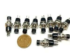 10 X Black Switch 7mm Mini Momentary On off Normally Open Push Button Spst B10