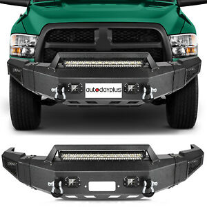 Texured Black Front Bumper W Winch Plate Leds For 10 18 Dodge Ram 2500 3500