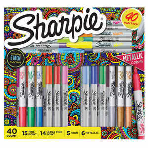 Sharpie 40 Markers Metallic Colors Assorted Set Fine Ultra Fine Point 5 Neon